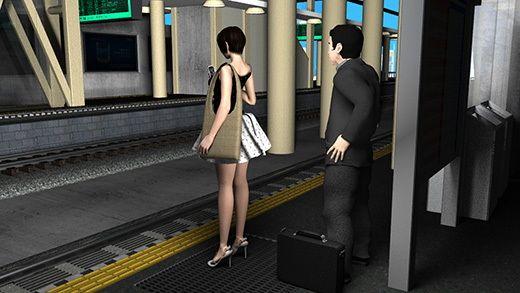 【Libido-Labo 同人】(戦利品セット)ガラガラに空いた駅で、わざわざ超絶劇ミニフレアスカートな女子大生?の真後ろに立ち、怪しげなカバンを地面に置いてスカート内を盗撮していると思しきサラリーマンを激撮!