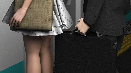 【Libido-Labo 同人】(第三者・犯人・戦利品の三点セット:PVフリル付きのリアルなパンティ編)ガラガラの駅で超ミニスカートの女子大生(?)の真後ろに陣取って地面にカバンを置いた怪しいオヤジを激写。v