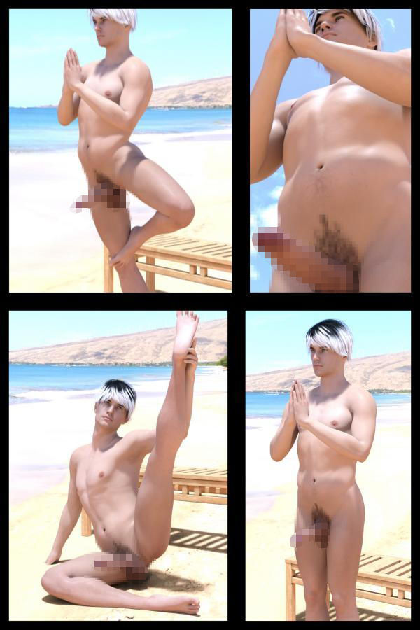 【Libido-Labo 同人】『理想の彼女を3DCGで作ります』から生まれたバーチャル男優「JunYoshino(よしの・じゅん)」全裸ヨガ写真集:『ZenraYoga』