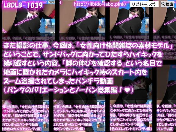 【△200】また撮影の仕事。今回は、『女性向け格闘雑誌の素材モデル』ということで、サンドバッグに向かってひたすらハイキックを繰り返すという内容。「脚の伸びを確認する」という名目で地面に置かれたカメラにハイキック時のスカート内をズーム盗撮されてしまったパンチラ動画(PV:パンティのバリエーションとノーパン全部入り総集編)