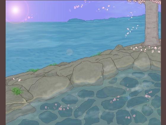 背景イラスト素材「桜舞う露天風呂」セット