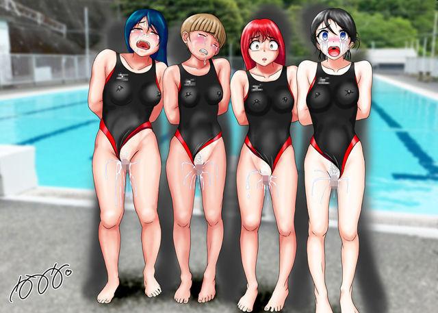 競泳水着集団凌●・穢されたメドレーリレー1