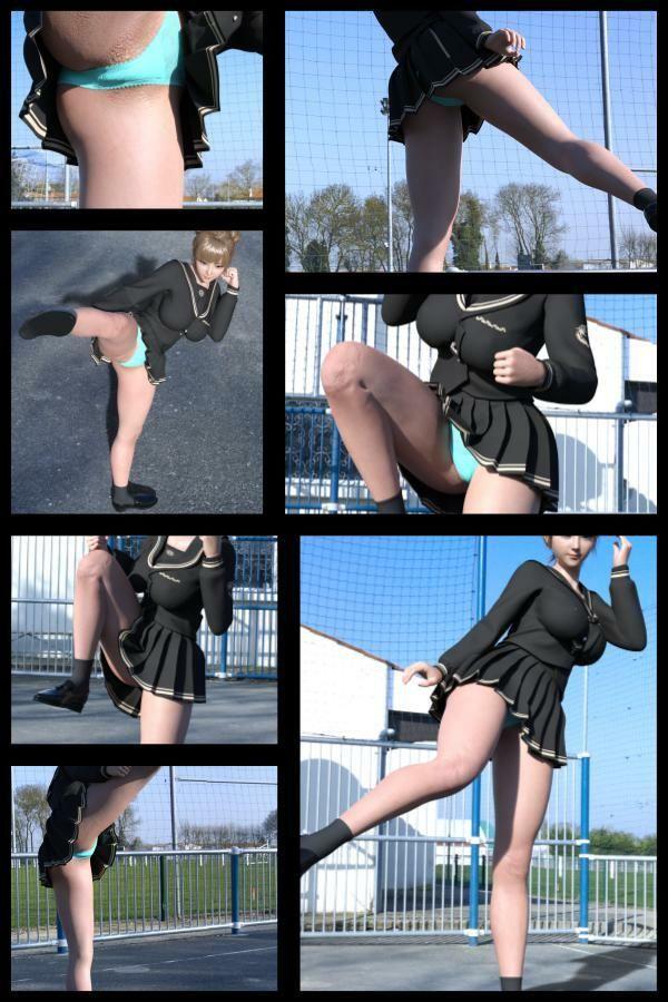 『理想の彼女を3DCGで作ります』から生まれたバーチャルアイドル「一ノ瀬廻里(いちのせめぐり)」の学生服写真集:Gakusei-122