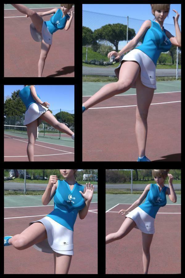 『理想の彼女を3DCGで作ります』から生まれたバーチャルアイドル「一ノ瀬廻里(いちのせめぐり)」のテニスウェア写真集:Gakusei-14(アンスコ履き忘れノーパン)2