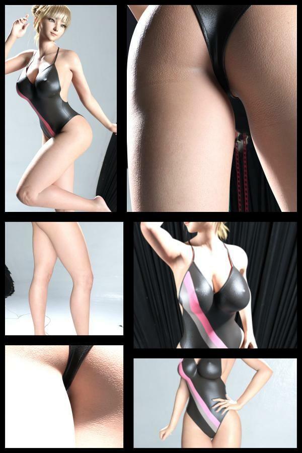 『理想の彼女を3DCGで作ります』から生まれたバーチャルアイドル「一ノ瀬廻里(いちのせめぐり)」の競泳水着写真集:Gakusei-16(ピタピタ競泳水着)1