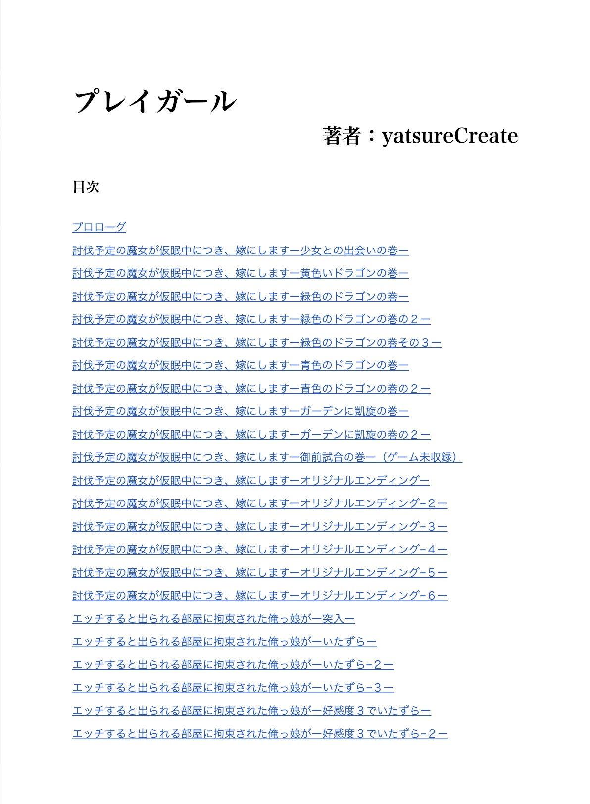 【yatsureCreate 同人】【ノベル】プレイガール