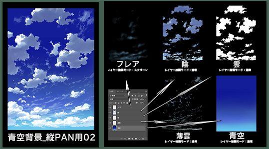 【K 同人】素材_青空背景_縦PAN用02