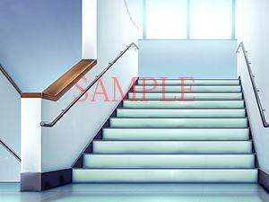 【キュキュキュのQのQ 同人】著作権フリー背景CG素材「階段踊り場」
