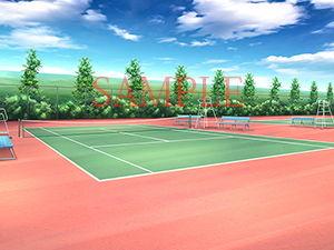 【キュキュキュのQのQ 同人】著作権フリー背景CG素材「テニスコート」