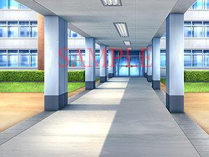 【キュキュキュのQのQ 同人】著作権フリー背景CG素材「渡り廊下学園中庭」