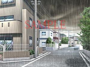 【キュキュキュのQのQ 同人】著作権フリー背景CG素材「曇り空雨」