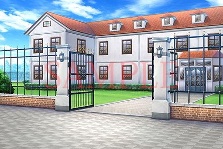 【キュキュキュのQのQ 同人】著作権フリー背景CG素材「門のある洋館」