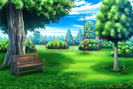 【キュキュキュのQのQ 同人】著作権フリー背景CG素材「緑のある庭」