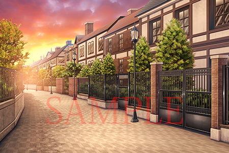 【キュキュキュのQのQ 同人】著作権フリー背景CG素材「洋風住宅街」