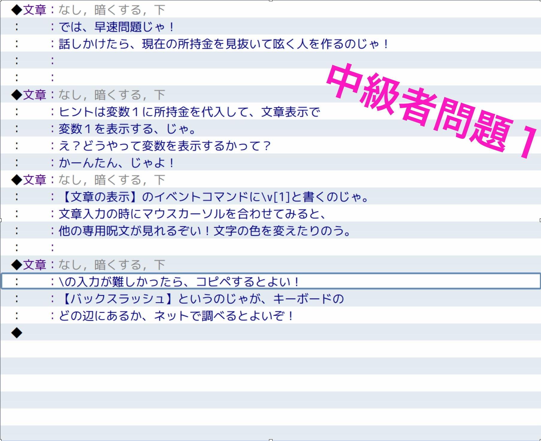 【yatsureCreate 同人】RPGツクールMV中級~上級問題&解答集